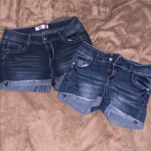 Two Pair of No Boundary Jean shorts